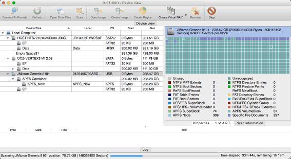 Disk scan in progress for the SSD device
