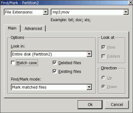 Find/Mark dialog box