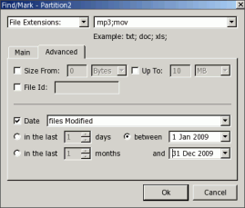 Find/Mar dialog box - Advanced