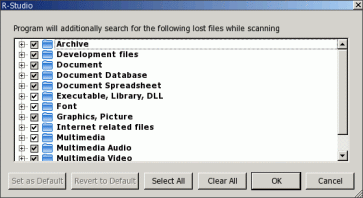 Known file types dialog box