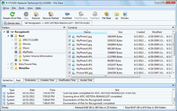 Files and folders marked for recovery