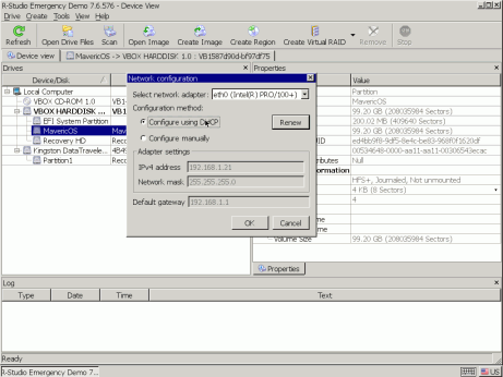 Network Configuration dialog box
