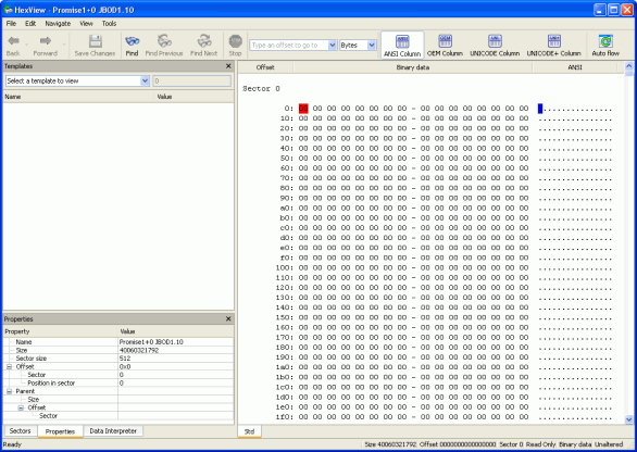 Finding RAID parameters: Disk1.arc opened in the Text/hexadecimal editor