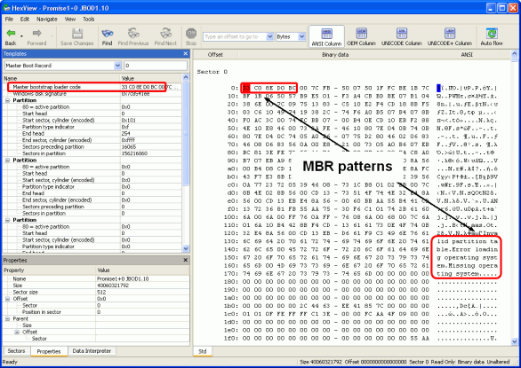 Finding RAID parameters: Disk2.arc opened in the Text/hexadecimal editor
