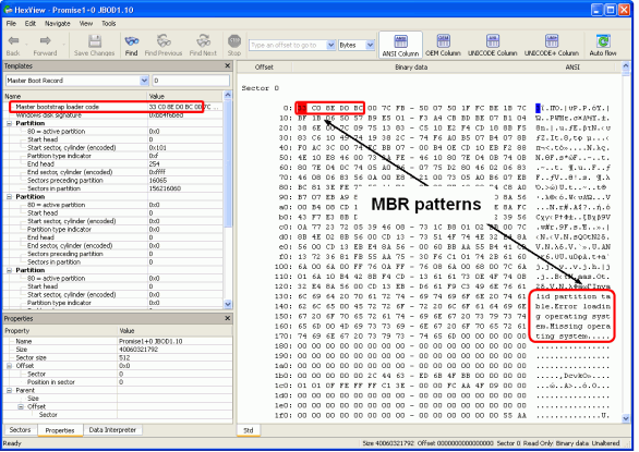 Finding RAID parameters: Disk3.arc opened in the Text/hexadecimal editor
