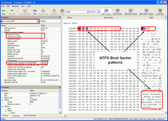 Finding RAID parameters: NTFS boot sector found