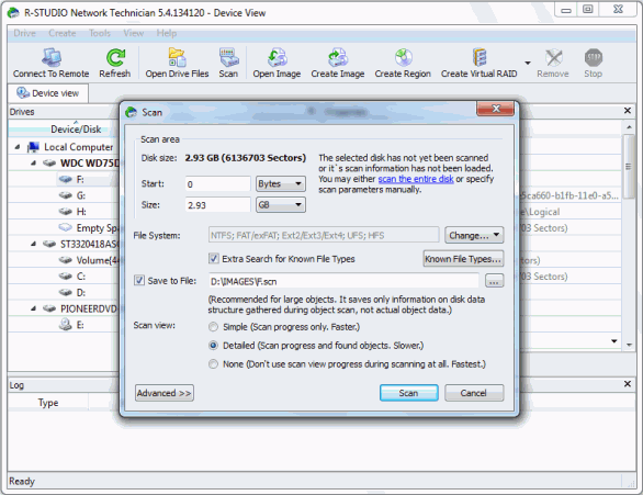 Unformat Disk and RAID Recovery: Disc scan 2