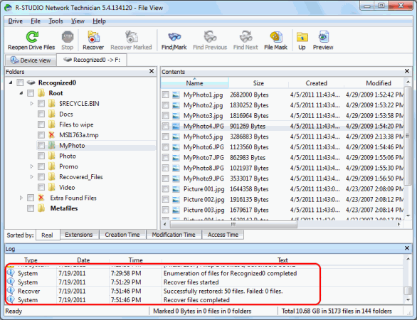 Unformat Disk and RAID Recovery: Disc scan 9