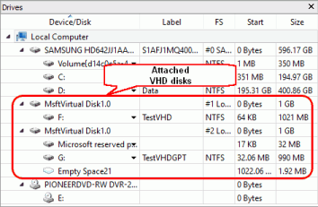Attached VHD disks in R-Studio's Drives pane