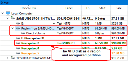 The VHD disk as a region on the host disk and recognized partition