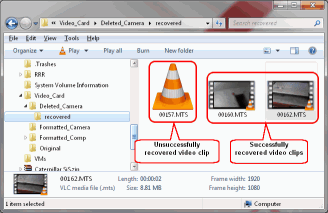 HD Video Recovery from SD cards: Video Recovery: Recovered Video Clips