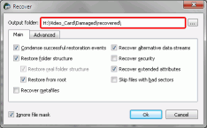 HD Video Recovery from SD cards: Video Recovery Parameters: Recover - Main