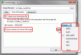 HD Video Recovery from SD cards: Create Image - Scan Information